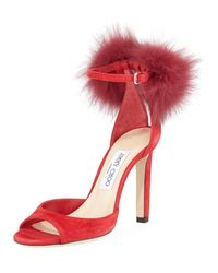 Jimmy Choo Red Suri Fur-trim Suede D'orsay Sandals