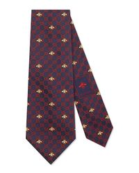Gucci Blue GG Bees Silk Tie for men