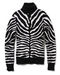 Michael Kors - Black Zebra-intarsia Cashmere Turtleneck Sweater - Lyst