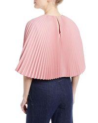 Sara Battaglia - Pink Pleated Cape Top - Lyst