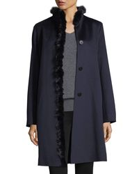 Fleurette - Blue Modern Stand-collar Dress Coat W/ Mink Trim - Lyst