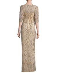 Rachel Gilbert - Metallic Beaded Half-sleeve Capelet Gown - Lyst