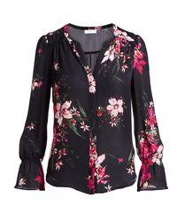 Joie - Pink Keno Split-neck Floral-print Silk Top - Lyst