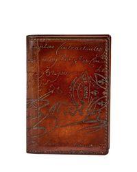 Berluti - Brown Jagua Scritto Leather Card Case for Men - Lyst