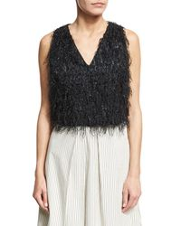 Brunello Cucinelli - Black Sleeveless Fringe V-neck Cropped Top - Lyst