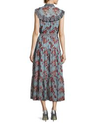 Robert Rodriguez - Blue Rose-print Sleeveless Belted Dress With Ruffle Trim - Lyst