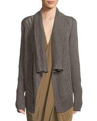 Urban Zen - Brown Basket-stitched Knit Cardigan - Lyst