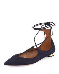 Aquazzura - Blue Christy Suede Lace-Up Flats  - Lyst