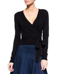 Diane von Furstenberg | Black Ballerina Long-sleeve Wrap Cardigan | Lyst
