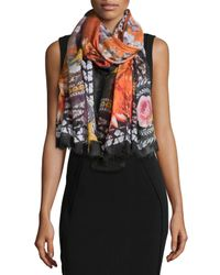 Givenchy | Black Paradise Flowers Cashmere-silk Scarf | Lyst