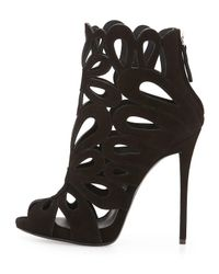 Giuseppe Zanotti - Red Floral Cut-Out Suede Booties - Lyst