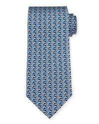 Ferragamo | Blue Horse Head-print Silk Tie for Men | Lyst