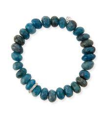 Sydney Evan - 10mm Faceted Blue Chrysocolla Beaded Bracelet With 14k White Gold Diamond Disc - Lyst