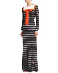 Preen By Thornton Bregazzi - Black Long-sleeve Striped Sailor Bib Dress - Lyst