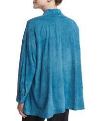 Eskandar - Blue Lightweight Suede Button-down Shirt - Lyst