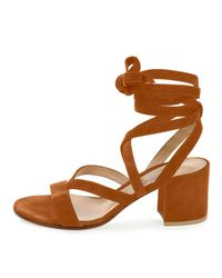 Gianvito Rossi - Orange Cross-Over Suede Sandals  - Lyst