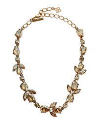 Oscar de la Renta | Metallic Bold Crystal Teardrop Necklace | Lyst