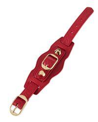 Balenciaga - Red Classic Leather Single-strap Bracelet - Lyst