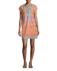 Calypso St. Barth - Multicolor Ro Split-neck Embroidered Dress - Lyst