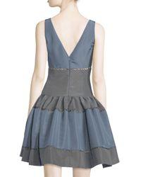 Carolina Herrera | Blue Sleeveless Colorblock Faille Party Dress | Lyst