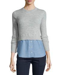 Veronica Beard - Gray Cati Wool Shirttail Combo Sweater - Lyst