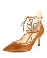 Gianvito Rossi - Red Suede Lace-up 70mm Pump - Lyst