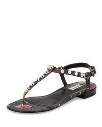 e1beb0452d4b4 Lyst - Balenciaga Studded Floral-Print Leather Flat Sandal in Black