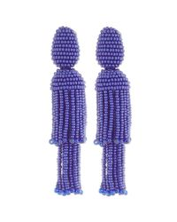 Oscar de la Renta | Purple Two-tiered Beaded Tassel Clip-on Earrings | Lyst