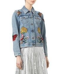 Gucci | Blue Embellished Washed Denim Jacket | Lyst