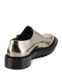 Lanvin - Gray Metallic-Leather Monk Shoes for Men - Lyst