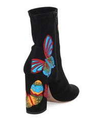 Valentino - Black Butterfly Suede 100mm Boot - Lyst