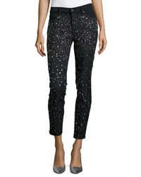 7 For All Mankind | Black Ombre-crystal Skinny Jeans | Lyst