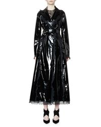 Lanvin | Black Belted Patent-leather Trench Coat W/ruffle Trim | Lyst