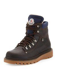 Moncler | Brown Egide Shearling-lined Hiking Boot for Men | Lyst