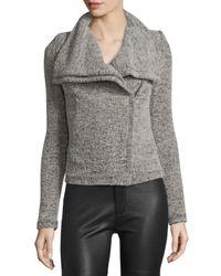 IRO - Gray Bessie Melange Zip-front Jacket - Lyst
