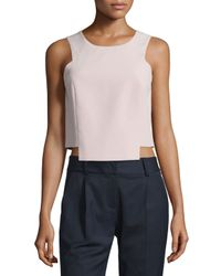 MILLY | Pink Sleeveless Seamed Stretch-cady Shell | Lyst