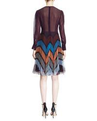 Mary Katrantzou | Multicolor Long-sleeve Bow-front Tulle Dress | Lyst