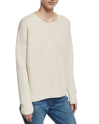VINCE | White Crewneck Honeycomb-knit Sweater | Lyst