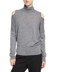 VINCE | Gray Cold-shoulder Turtleneck Sweater | Lyst