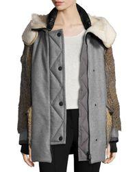 Moncler | Black Wool-blend Coat W/mixed Fur Trim | Lyst