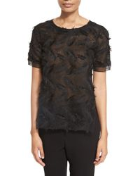 Prabal Gurung - Black Short-sleeve Feather-lace Top - Lyst