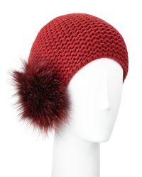Inverni   Red Fur Pom-pom Beanie Hat   Lyst