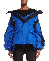 Balenciaga - Blue Off-the-Shoulder Tech Fabric Coat - Lyst