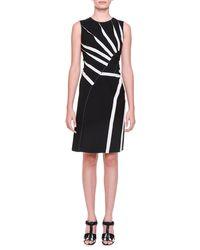 Bottega Veneta - Black Asymmetric Sunburst-inset Dress - Lyst