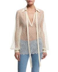 Michael Kors - Multicolor Long-sleeve Self-tie Sheer Lace Blouse - Lyst