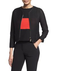 Armani - Black Zip-front Mesh Cropped Jacket - Lyst