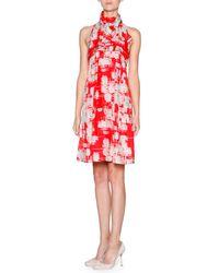 Giorgio Armani - Red Printed Silk Habutai Halter Dress - Lyst