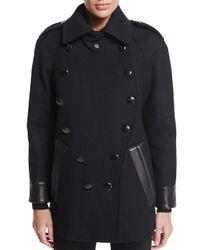 Tom Ford - Black Leather-trim Caban Coat - Lyst