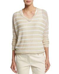 Brunello Cucinelli - White Striped Paillette-embellished V-neck Sweater - Lyst