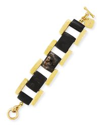 Ashley Pittman | Multicolor Muziki Dark Horn & Bronze Rectangular Link Bracelet | Lyst